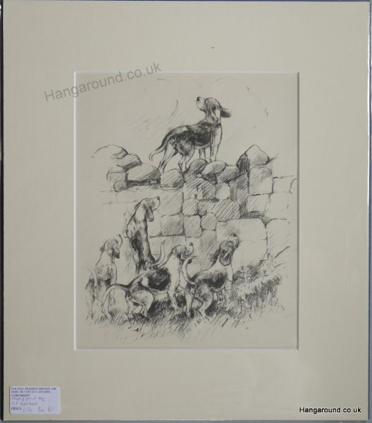 Beagles at the wall 1940's print by K F Barker